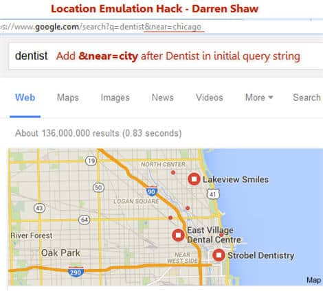 location filtering using near query string