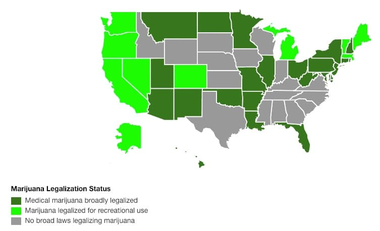 current marijuana legalization status by US State